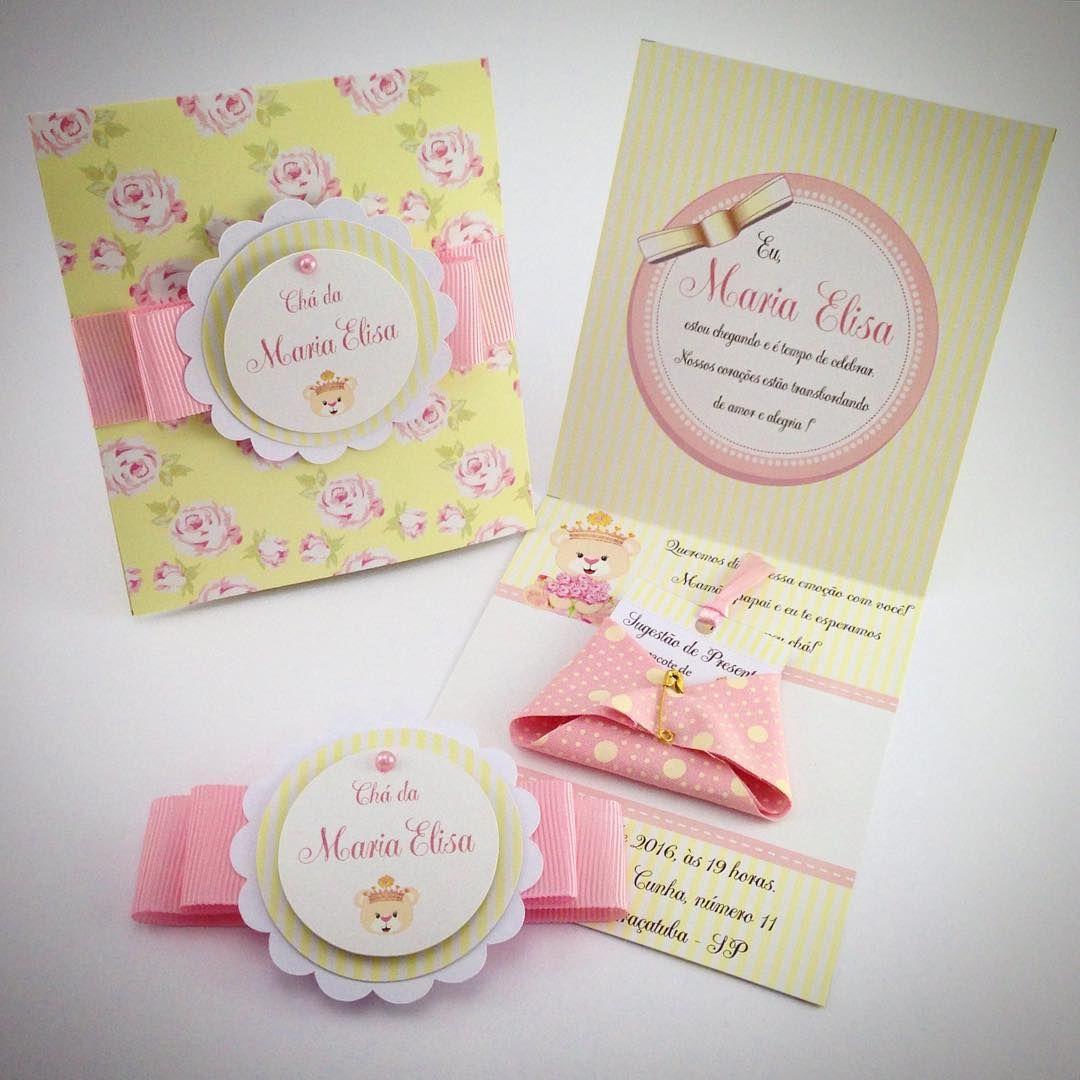 """Coisa mais fofa!  convite de chá de fraldas da Maria Elisa no tema Ursinha Princesa. #chadefraldas #ursinhaprincesa #chadebebe"""