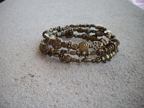 Antique Brass Spacer Bead Bracelets Set of 3 by DesignsbyPattiLynn, $40.00