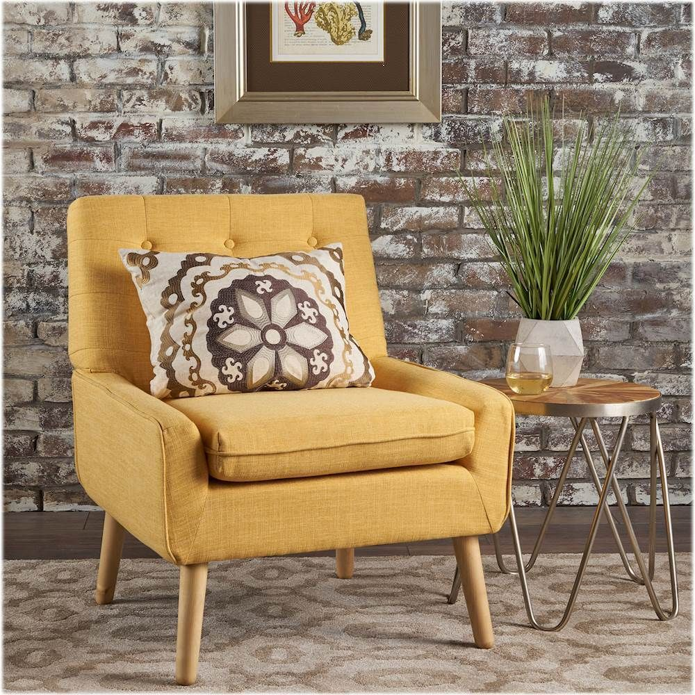 Noble House Quincy Accent Chair Muted Yellow 302041