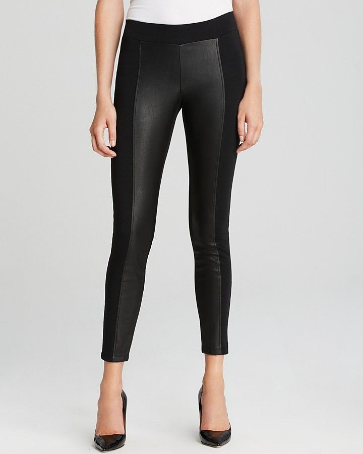 6555eb234dbf86 GUESS Leggings - Ponte and Faux Leather on shopstyle.com   лосины