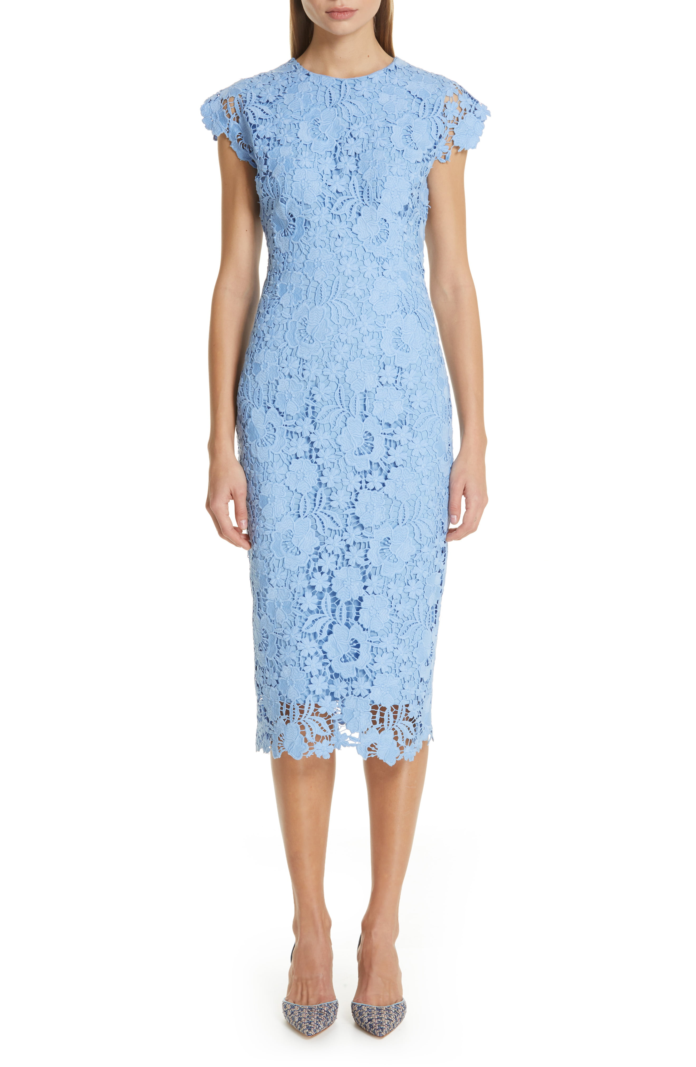 Womens Lela Rose Fitted Floral Guipure Lace Dress Size 18