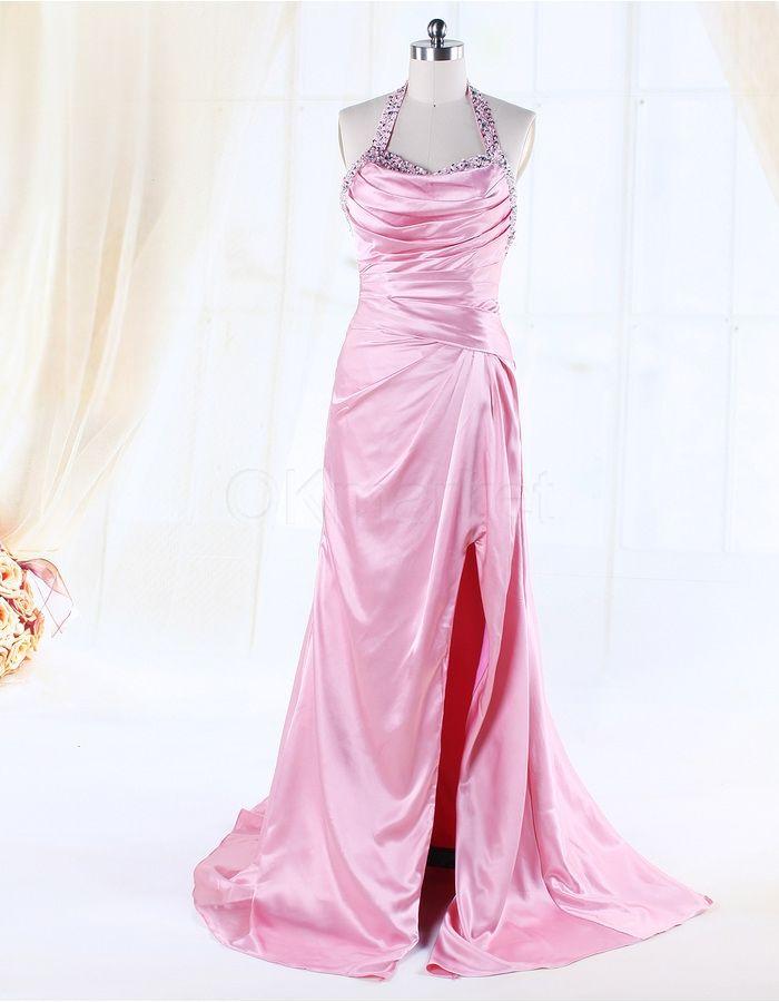 Pink Spaghetti Neckline Satin Beading Long Formal Evening Dress | OKmarket.com