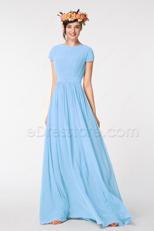 Light Blue Modest Prom Dresses Short Sleeves Dresses Dresses