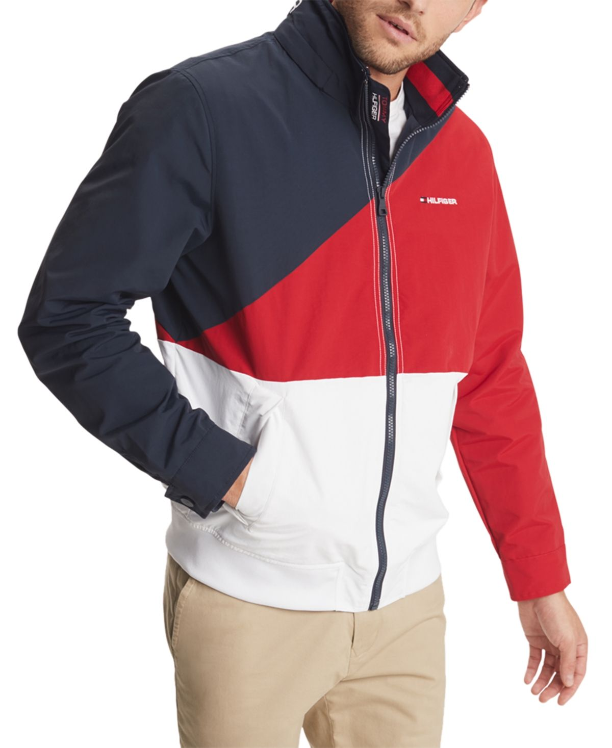 Tommy Hilfiger Men S Tate Colorblocked Yacht Jacket With Zip Out Hood Navy Blazer Bright White Romper Men Tommy Hilfiger Tommy Hilfiger Man [ 1467 x 1200 Pixel ]
