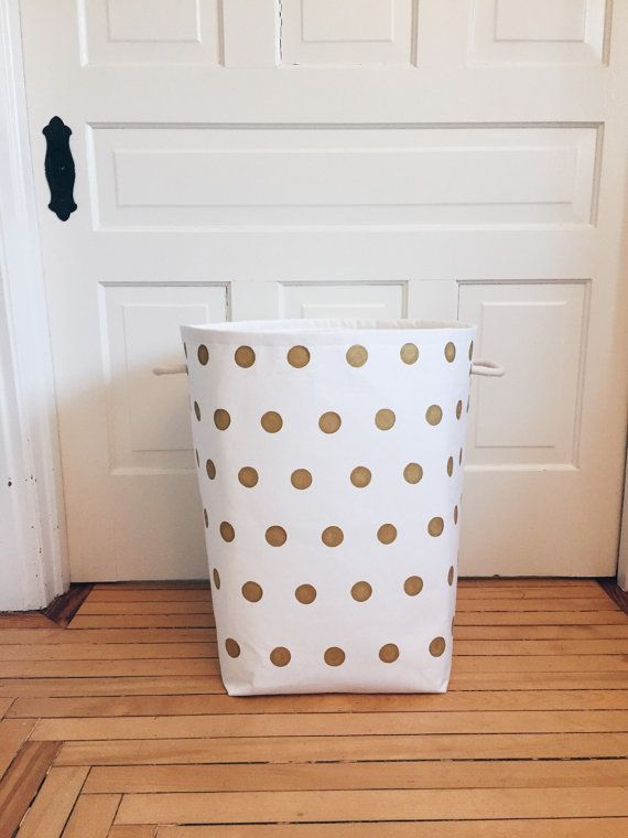 Custom Gold Dot Canvas Storage Bin Sweet Gingerloo My