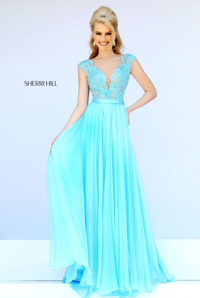 Sherri Hill 11269 is a beautiful chiffon dress that has a lace bodice and cap  sleeves. A simple belt defines the waist line. Sherri Hill 11269 is sure to  be ...