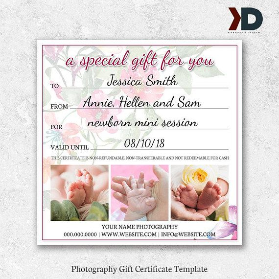 5x5 Photography Gift Voucher Template Gift Certificate Template