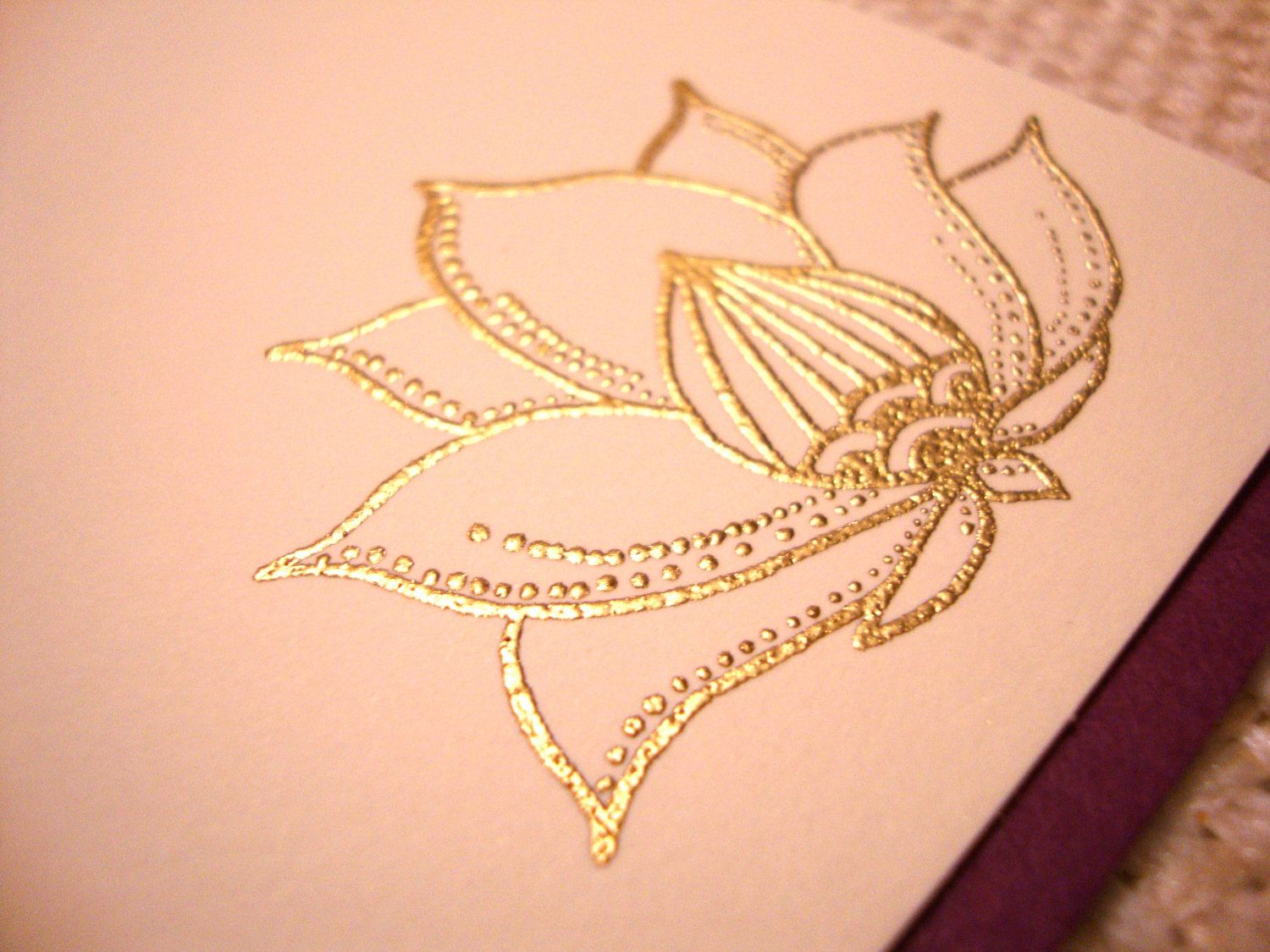 Indian Lotus Flower Hand Stamped And Embossed Notecards 695