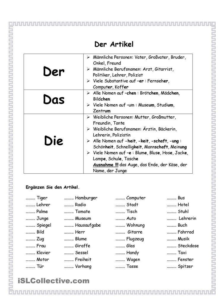 Artikel Artikel schule Deutsch lernen, Deutsch