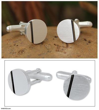 Novica Sterling silver cufflinks, Harvest Moon - Modern Sterling Silver Cufflinks