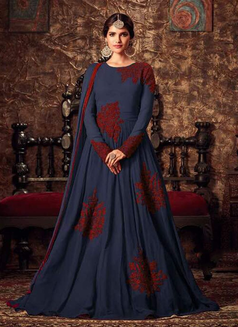 Wedding wear neavy blue georgette embroidery anarkali suits madhu