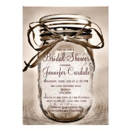 Country Mason Jar Rustic Bridal Shower Invitations Custom