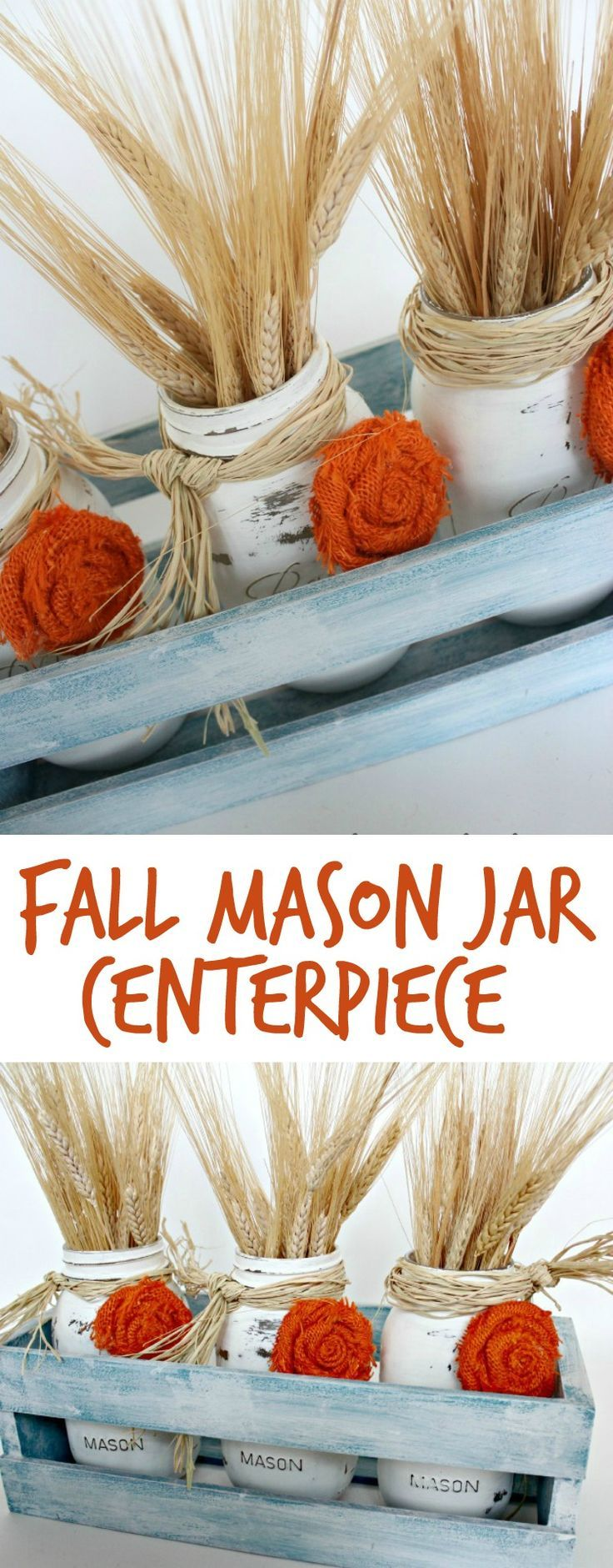 fall mason jar centerpieces and how to make burlap rosettes