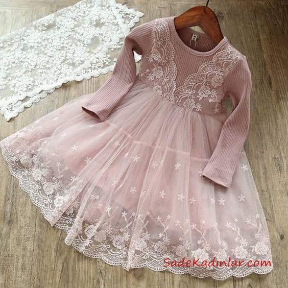 45124418d5a97 Kız Çocuk Elbise Modelleri Pembe Kısa Uzun Kol Güpürlü Etekli #dress #baby  #babydress #kızelbiseleri #fashion #babygirl