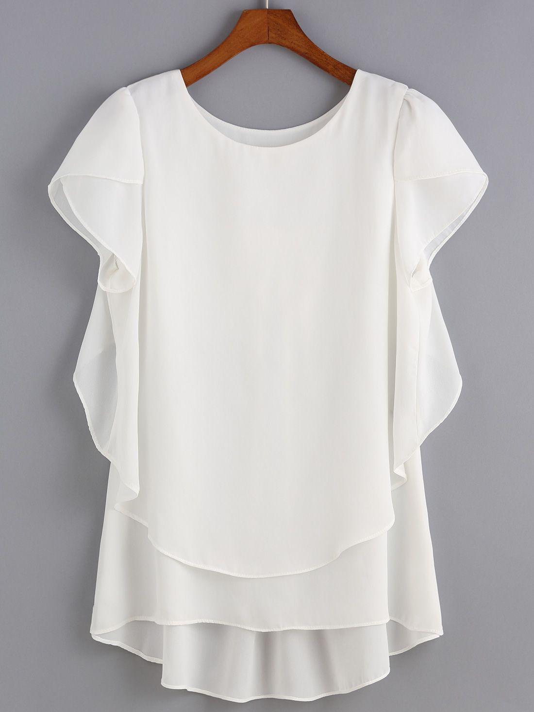975524f15 blusa cuello redondo tiro alto gasa-(Sheinside)