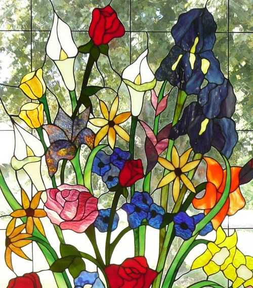 Floral Bouquet Stained Glass By The Vinery Studio With Roses Lilies And Irises