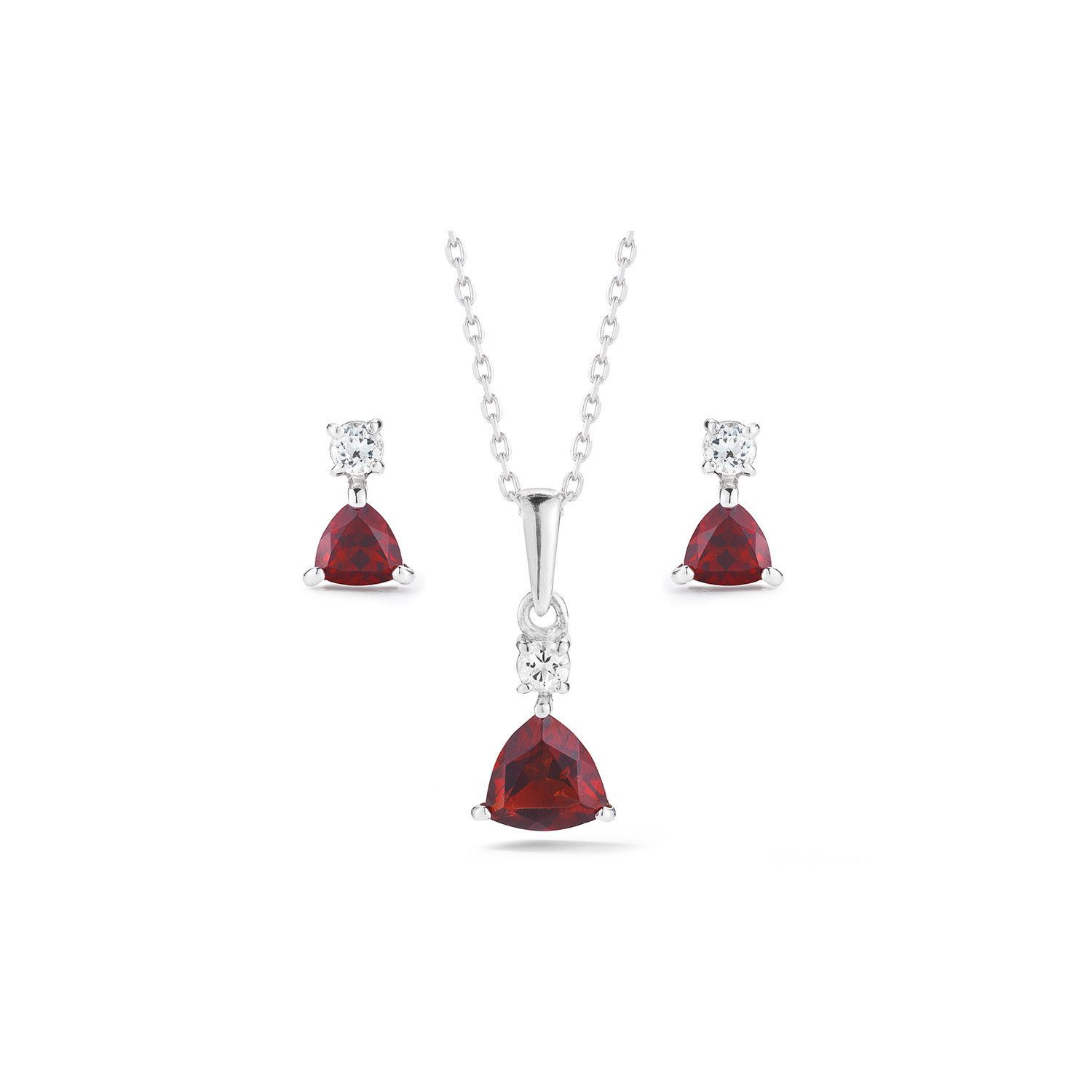 Trillion garnet necklace and earrings set products pinterest