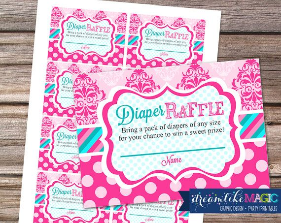 Baby Shower Diaper Raffle Cards for Tickled Pink, DIY Printable Diaper Raffle Cards File, INSTANT DOWNLOAD on Etsy, $5.00