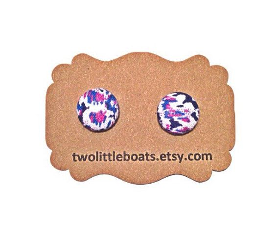 Vintage Deco Fabric Button Earrings handmade by TwoLittleBoats