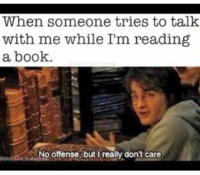 When Someone Tries To Talk To Me When I M Reading A Book No Offense But I Really Don T Care Book Humor Harry Potter Funny Book Memes