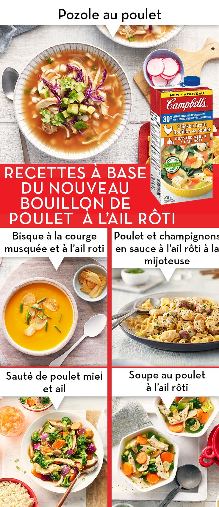 Moins De Sodium L Ail Roti Poulet Cuisinez Avec Campbells Campbells Soup Recipes Chicken Broth Recipes Soup Recipes