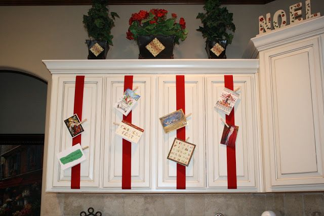 Christmas Card Display- just wide ribbon, packing tape, and
