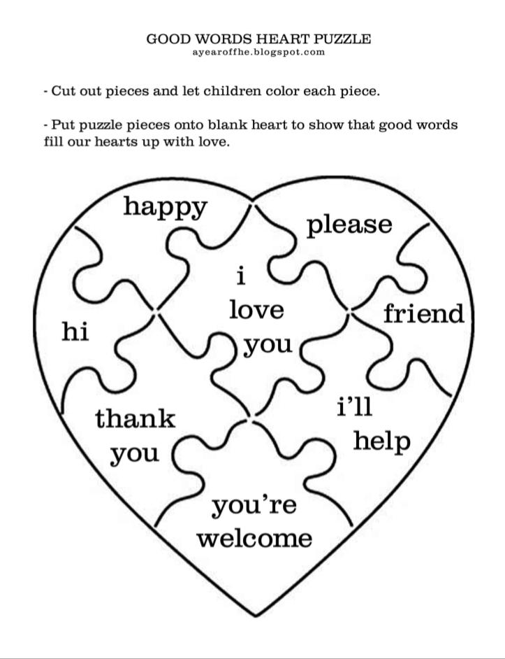 Jigsaw Puzzle Award- Heart/ Manners Fun award (1/2pg