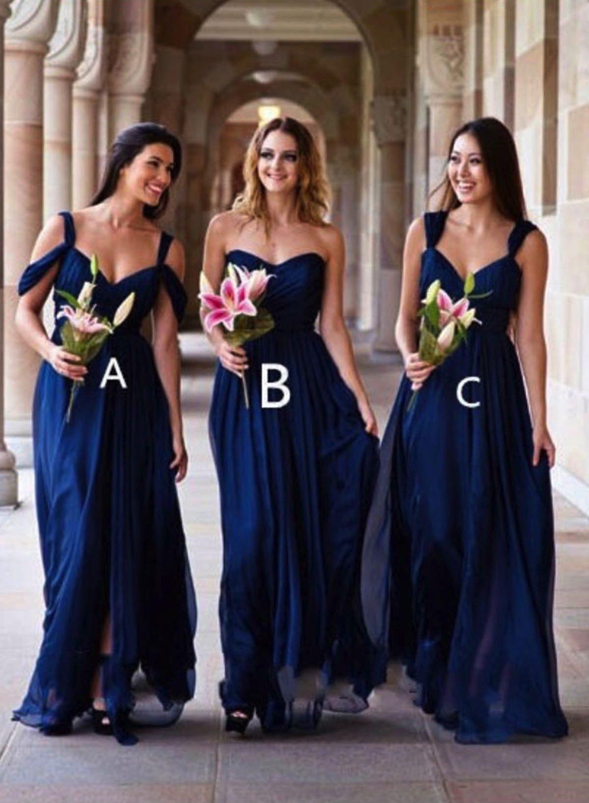 Navy blue chiffon simple long bridesmaid dresses promdress gowns