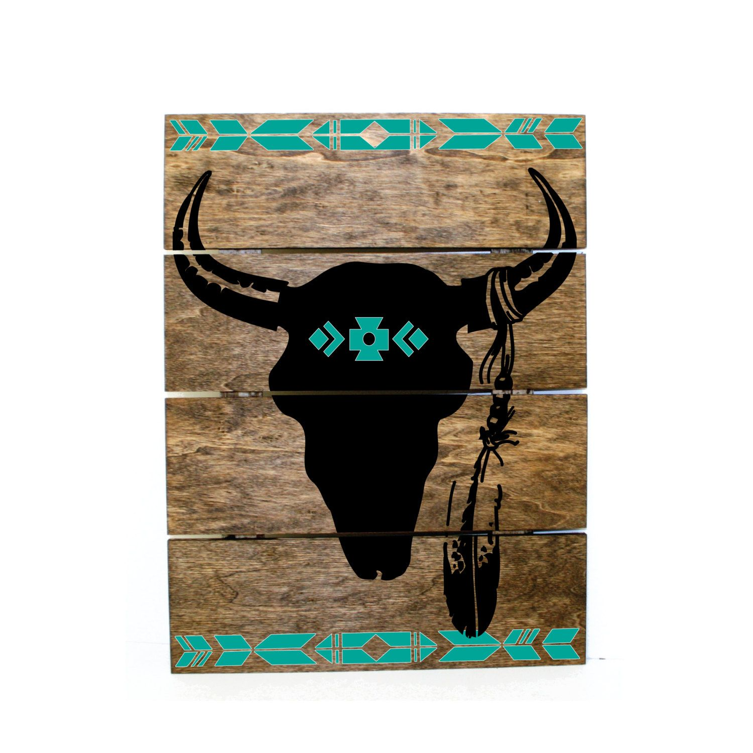Tribal Print Steer Skull Pallet Sign - Indie home decor, gifts for ...