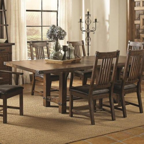 Coaster Padima Rustic Rough Sawn Dining Table with Extension Leaf
