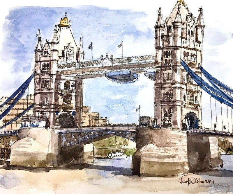 London Print Tower Bridge Watercolor Painting London Print