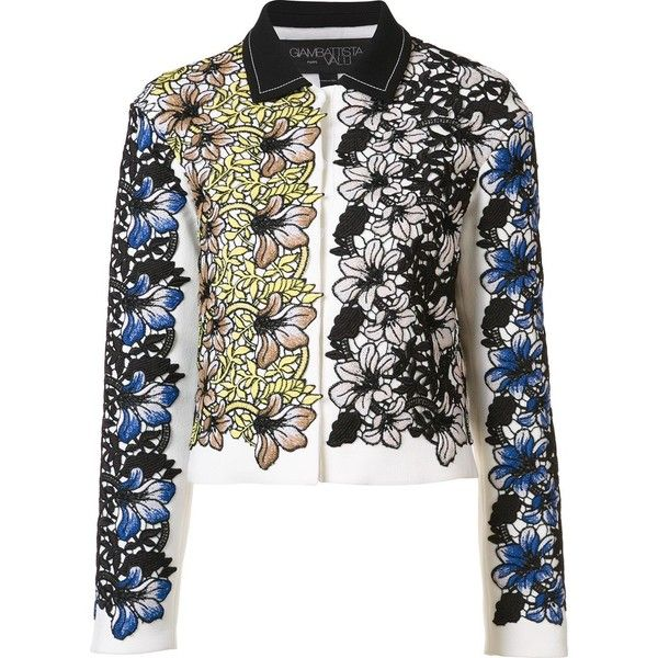 Giambattista Valli jacquard cropped jacket (2.679.595 CLP) ❤ liked on Polyvore featuring outerwear, jackets, white, jacquard jacket, giambattista valli jacket, giambattista valli, multi color jacket and white cropped jacket