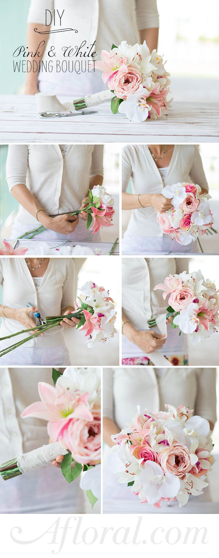How to assemble a simple silk flower bouquet im getting married learn how to assemble a simple silk flower bouquet with this diy from wedideas made with gorgeous silk flowers from afloral izmirmasajfo