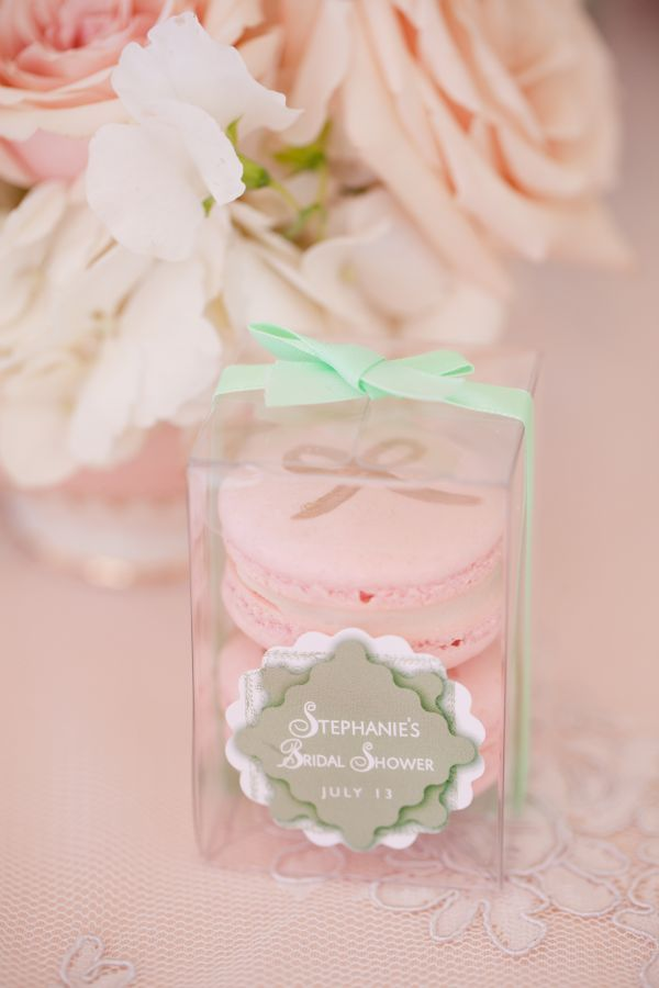 tea party bridal shower stephanie uchima preppy chic favors macarons pink roses