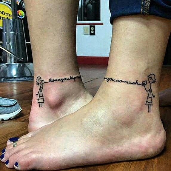 Mother Daughter Stick Figure Ankle Tattoos Tattoos For Daughters Tattoos Mother Daughter Tattoos