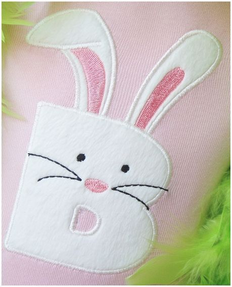 Easter Bunny Letter Of Your Choice Applique Embroidered Patch