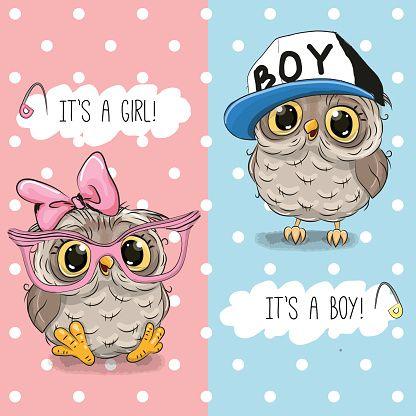 Owls boy and girl vector art illustration