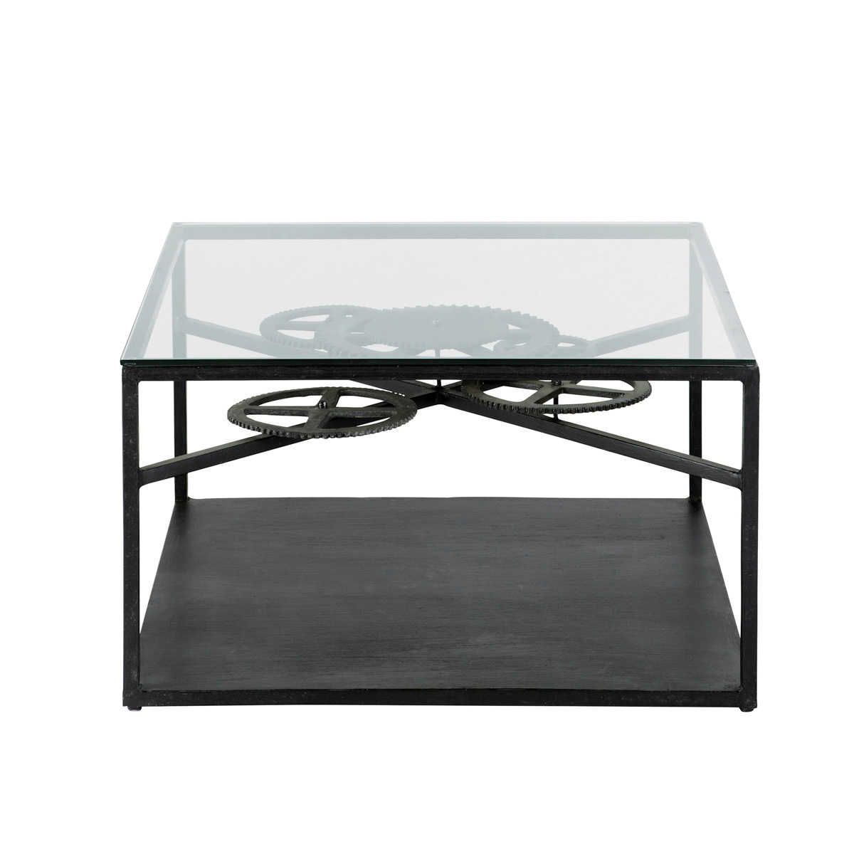 Mesa baja industrial de cristal y metal An. 80 cm Rouage