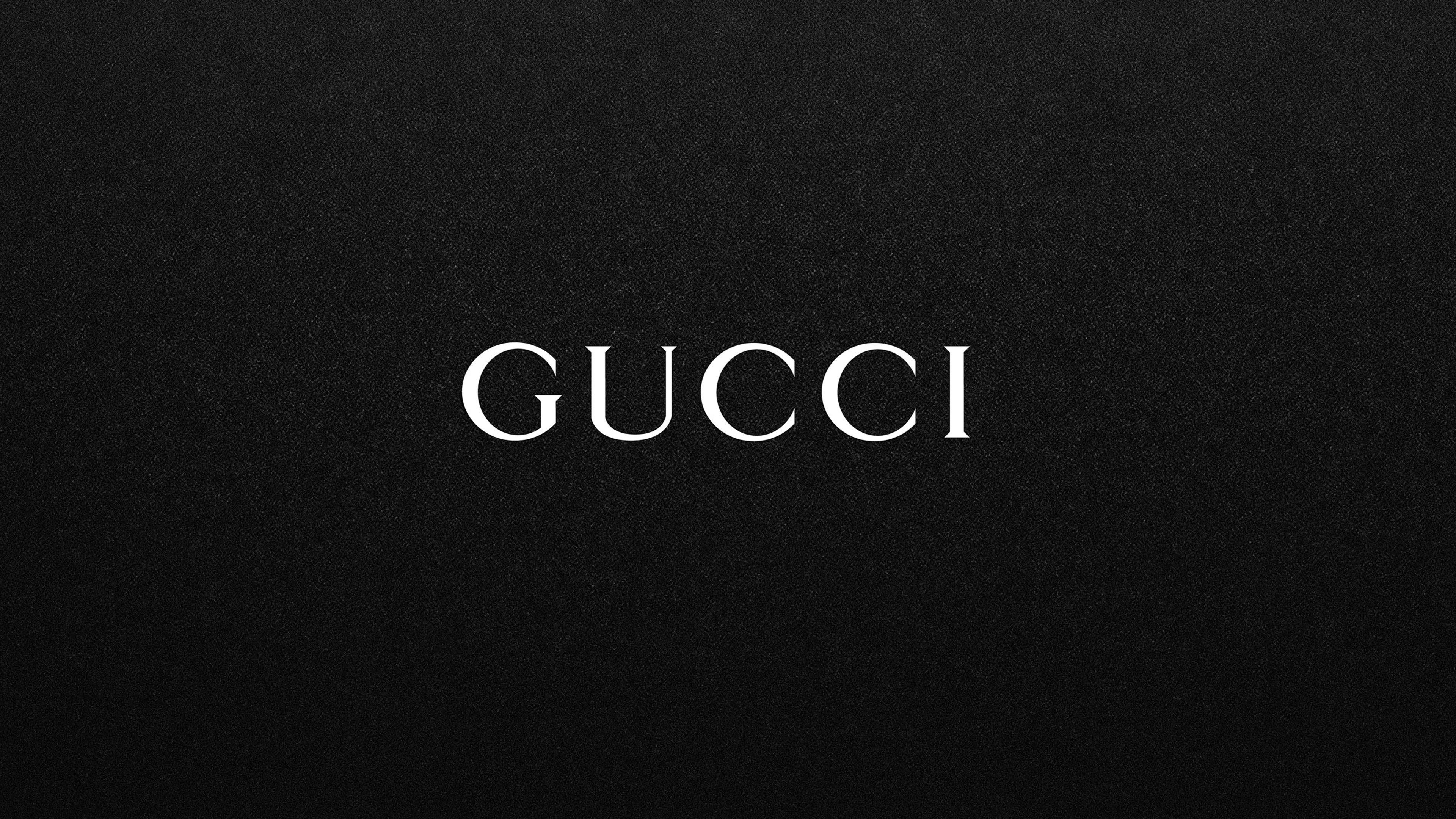 gucci white logo on black background Logo wallpaper hd