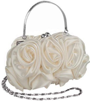 White Enormous Rosette Roses Framed Clasp Evening Handbag Clutch Purse  Convertible Bag w Hidden Handle 6d1a61a85d322