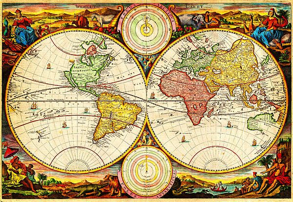 Digitally enhanced Ancient Vintage #Maps, # paintings, #globe - new antique world map images