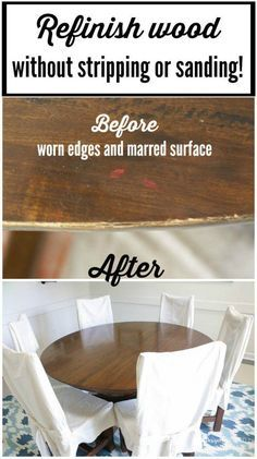 Wondering how to refinish old furniture or kitchen cabinets? Sometimes you can refinish old furniture without sanding or stripping. I had no idea it could be so easy. Learn how to refinish a table and other marred pieces with this full tutorial. #furnituremakeover #furniturerescue #diningroomtable #refinish #woodrefinishing #diningtable #diyproject