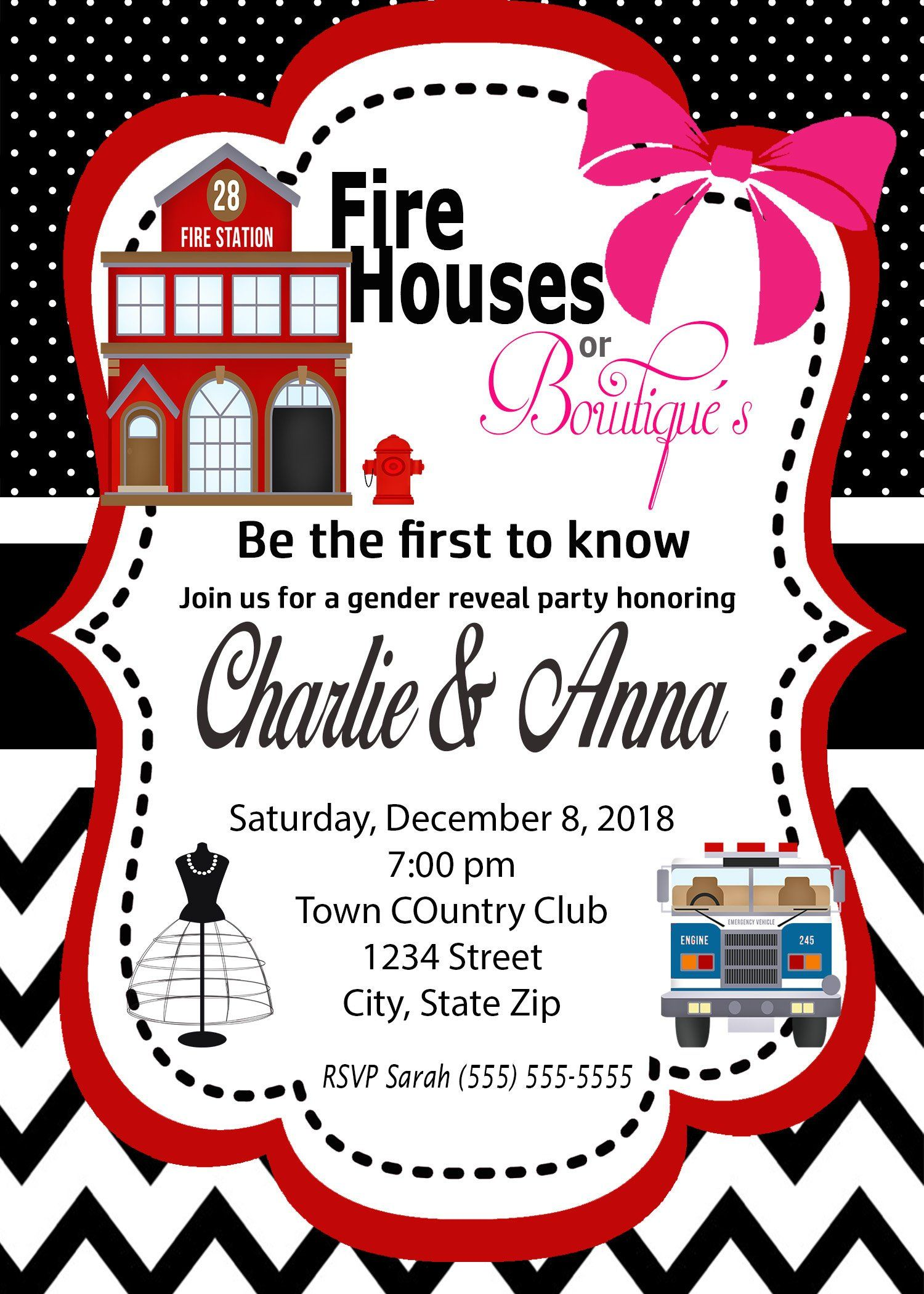 Fire Houses Or Bowtique S Gender Reveal Invitation Etsy In 2021 Gender Reveal Invitations Gender Reveal Gender Reveal Party Games