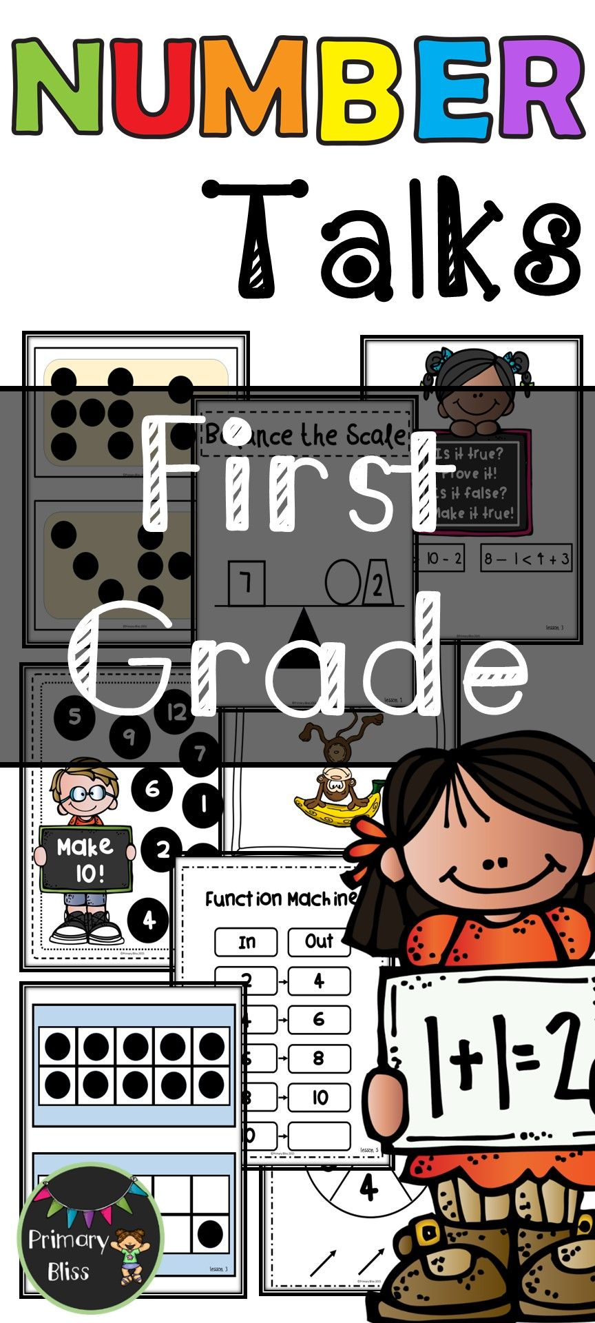 Number Talks Yearlong Program For First Grade Enjoy Great Mathematical Conversations With These Well Thought Out Number Talks Math Talk First Grade Classroom [ 1920 x 864 Pixel ]