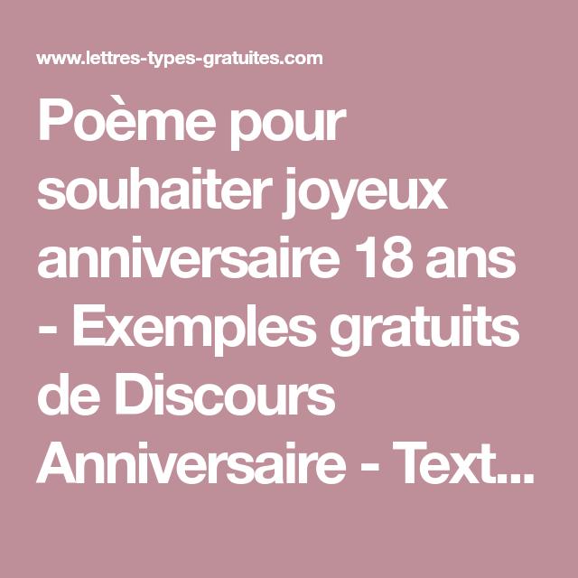 Poeme Pour Souhaiter Joyeux Anniversaire 18 Ans Exemples Gratuits