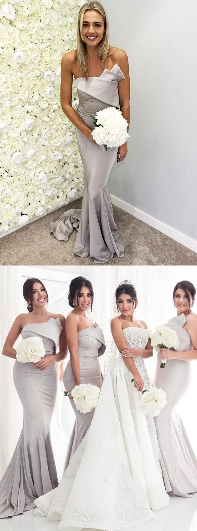 Mermaid strapless sweep train grey satin bridesmaid dress in