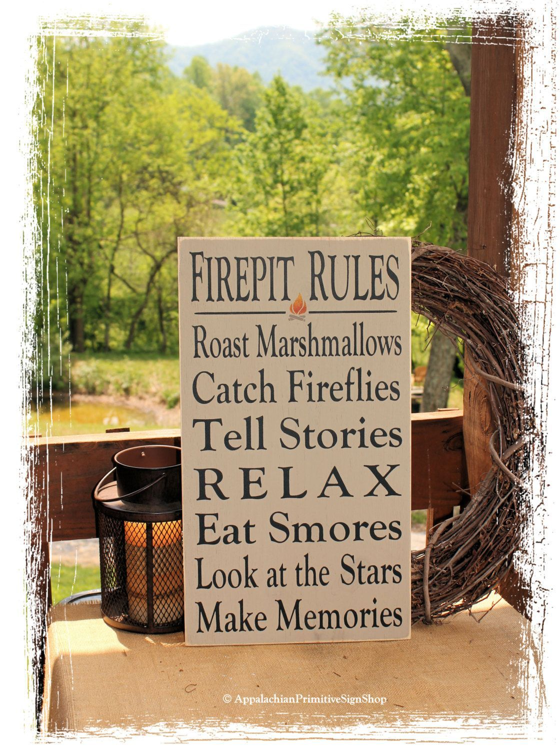 Rules Sign Typography -Wood Sign- Outdoor Decor Firepit Decoration Family Bonfire Sign Housewarming Gift Summer Decor by AppalachianPrimitive on Etsy