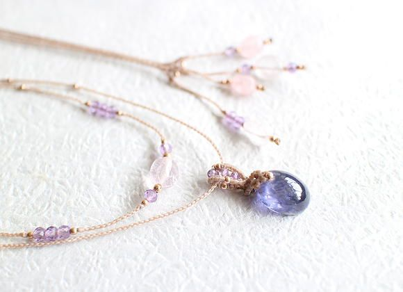 Iolite Morganite Macrame Necklace