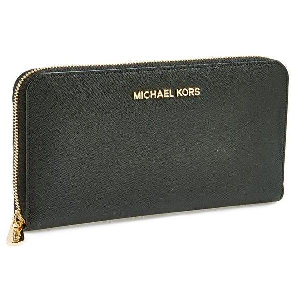 MICHAEL Michael Kors 'Jet Set' Travel Wallet (160 CHF) ❤ liked on Polyvore featuring bags, wallets, black, zip around wallet, black saffiano leather bag, zip around travel wallet, travel wallet en pocket bag