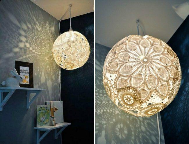 Basteln Mit Spitzendeckchen Lampe Selber Machen Einfach Kinderzimmer